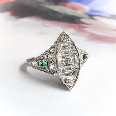 Art Deco 2.22ct t.w. Step Cut Trapezoid Diamonds With Green Emerald Accents Engagement Cocktail Ring Platinum by YourJewelryFinder