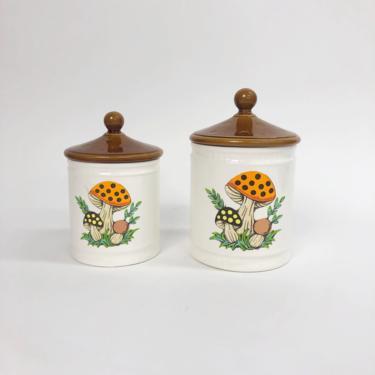 Vintage 1982 Sears & Roebuck Co Mushroom Ceramic Jars, Vintage 2 Piece Set, 70s Kitchen Decor, Vintage Home Decor, Made In Japan by MobyDickVintage