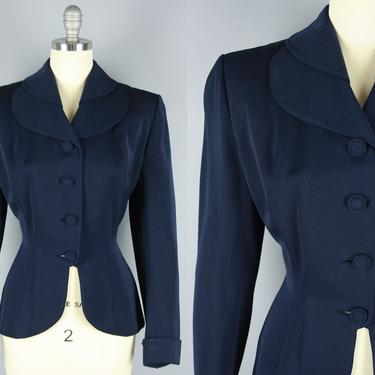 1940s LILLI ANN Blazer | Vintage 40s Navy Blue Gabardine Jacket with Petal Collar | small by RelicVintageSF