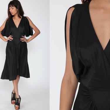Black Party Dress Grecian Dress 70s Midi FLUTTER SLEEVE Dress 1970s Boho Empire Waist Deep V Neck Drape Gown Formal Extra Small xs by ShopExile