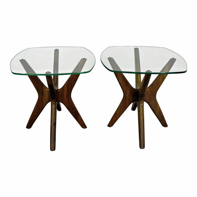 Pair of Mid-Century Danish Modern Adrian Pearsall 'Jacks' Glass Top End Tables by AnnexMarketplace
