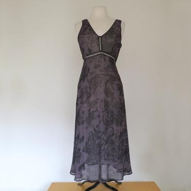 1990s or 00s grey and black sheer dress with crochet detailing by flutterandecho