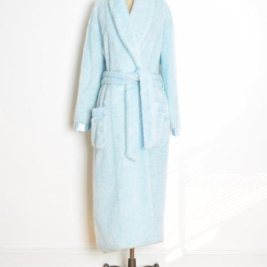 vintage 70s robe light blue faux fur wrap house coat plush fuzzy jacket L XL clothing by huncamuncavintage