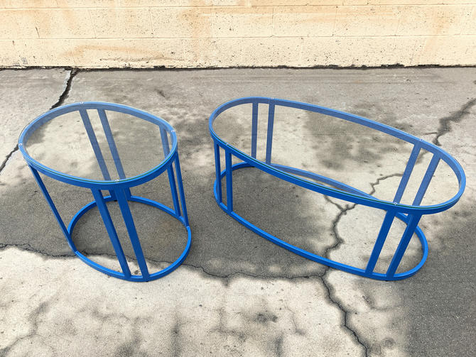 Pair of Vintage Modern Steel Patio Tables Refinished in Blue, Free U.S. Shipping