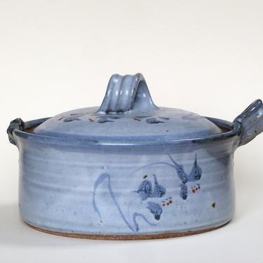 Studio Pottery Blue Lidded Casserole Signed Vintage Ceramics - Wabi Sabi Pottery by FlyTimesVintage