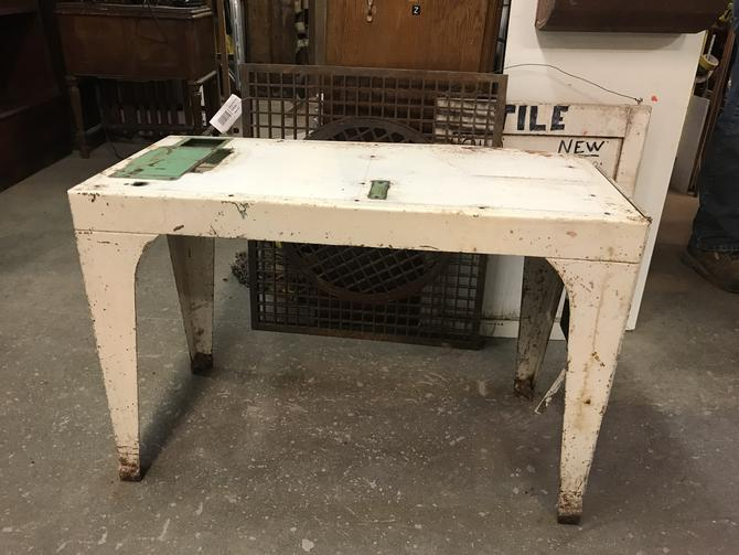 """Metal table with flip up extension 35"""" W 16"""" D  22 3/4"""" H without extension up"""