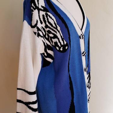1980s Zebra Print Cardigan Storybook Knits / Oversized Blue Black White Animal Print Button Down Sweater / Gillette by RareJuleVintage