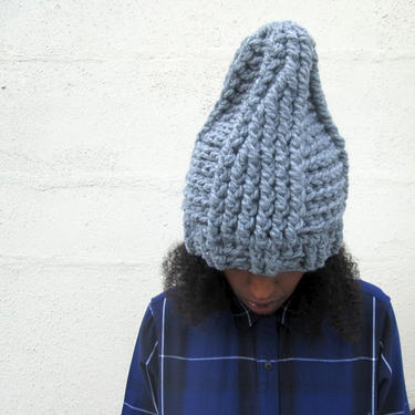 The Tepee Hat in Heather Grey/Chunky Winter Hat/Chunky Crochet Hat/Oversized Hat/Handmade Chunky Yarn Hat/Gray Ribbed Hat by KonjoCrochet