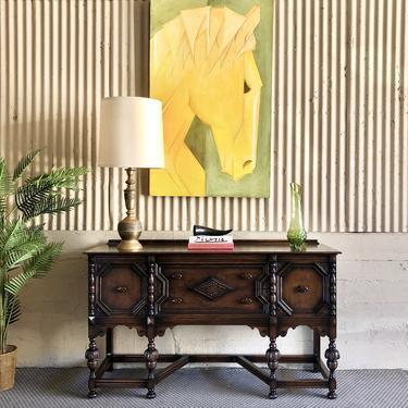 SOLID Walnut Spanish Revival Credenza by Rockford