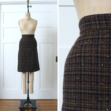 vintage 1950s pencil skirt • textured & colorful flecked wool wiggle skirt • brown plaid by LivingThreadsVintage