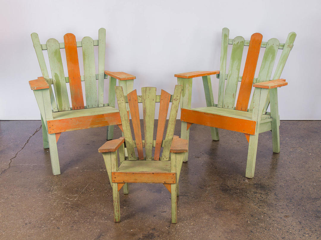 Set 3 1960s Vintage Family Adirondack Patio Deck Chairs By
