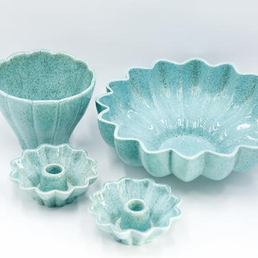 Red Wing Mid Century Turquoise Scalloped Console Bowl, Candleholders, Vase/Pot, 1620, 1619, Speckled Blue Pottery, MCM Planter by TripodVintage