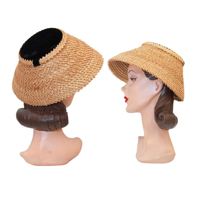 1950 Natural Straw Conical Hat - 1950s Dish Hat - 1950s Conical Hat - 50s Womens Hat - 50s Summer Hat - Vintage Conical Hat - 50s Straw Hat by VeraciousVintageCo