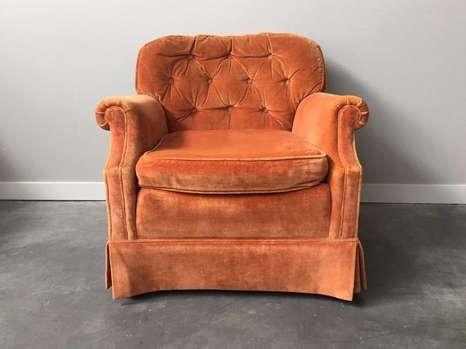 vintage plush peach club chair.