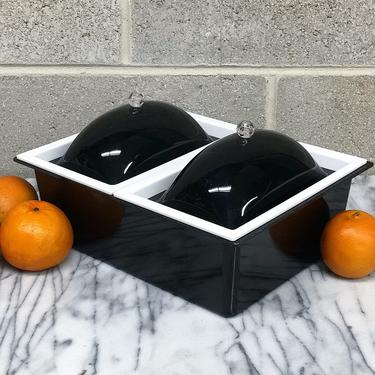 Vintage Food Ice Box Retro 1960s Mid Century Modern + Tasty Temp + Black and White + Lucite + 2 Compartments + MCM Serving Caddy + Kitchen by RetrospectVintage215