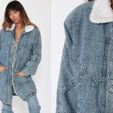 SHERPA Denim Jacket 80s Long Shearling Jacket Acid Wash Jean Jacket Trucker 90s Winter Coat Blue Fleece Oversize Coat Small Medium by ShopExile