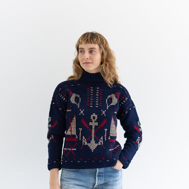 Vintage Navy Blue Red White Sail Anchor Sweater | Fisherman Jumper | XS S | by RAWSONSTUDIO