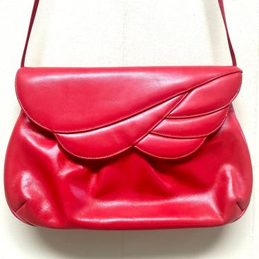 Vintage 1980s Red Leather Convertible Purse, 80s Crimson Clutch to Shoulder Bag, Crossbody Bag with Flap, Morris Moskowitz by RanchQueenVintage