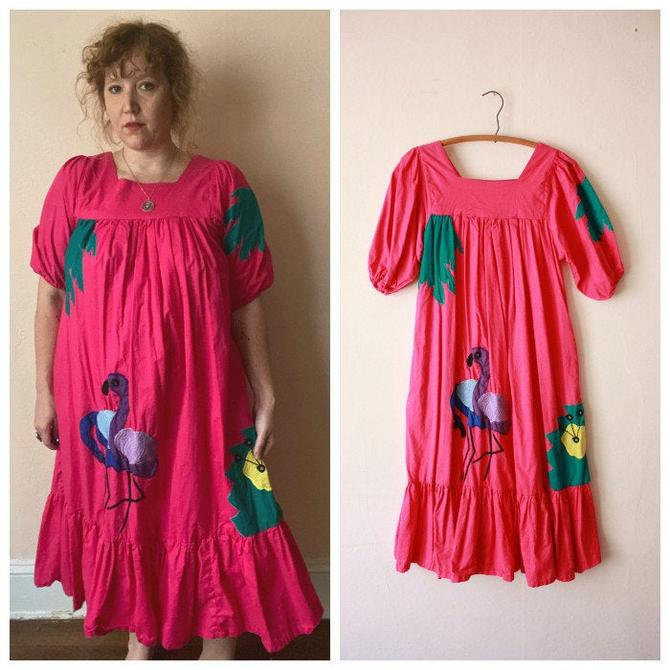 80s Hot Pink Cotton Muumuu Dress with Flamingo Applique Tropical One Size by NoSurrenderVintage