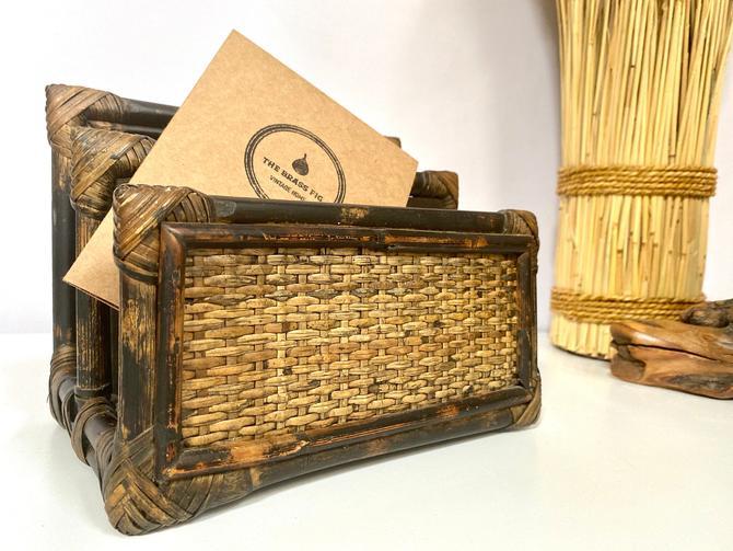 Vintage Bamboo Rattan Desk Organizer   Mail Sorter   Letter Holder   File Storage   Boho Desk Organizer by TheBrassFig