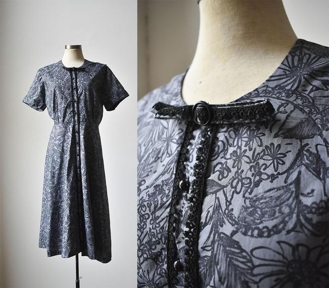 bb667511aa4 Vintage 1940s Dress   Blue Floral Dress Medium   Shirt Dress   1940s ...