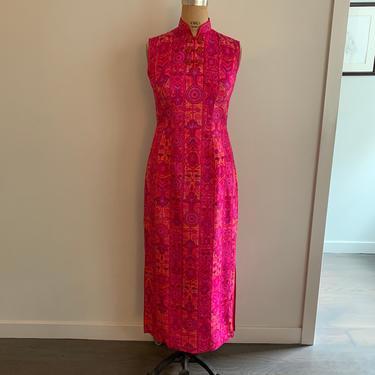 Bijou Fashions Fuchsia print silk ls cheongsam dress-Size M by MartinMercantile