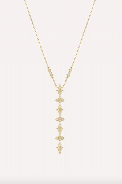 Glitter Long Necklace - Yellow Gold