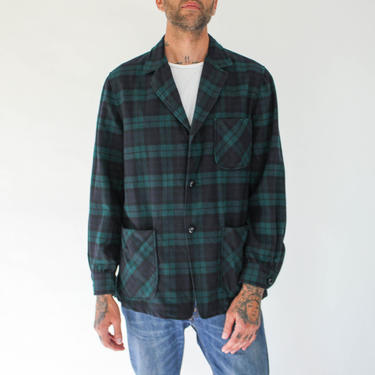 Vintage 60s Pendleton Hunter Green & Navy Blue Plaid 49er Shirt Jacket   Made in USA   1960s Pendleton Chore, Rockabilly, Flannel Blazer by TheVault1969