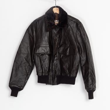 70s Brown Leather Flight Jacket - Men's Medium, Size 38 | Vintage Sears Faux Fur Collar Aviator Bomber Coat by FlyingAppleVintage