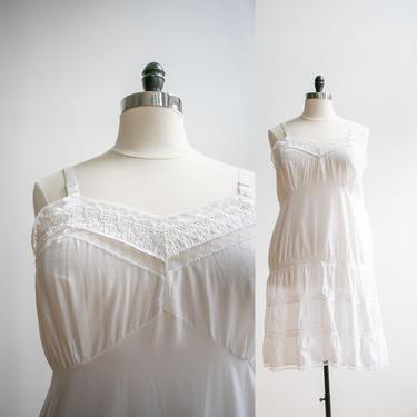 Vintage 1960s White Cotton Slip / Plus Sized Vintage Slip Dress / Vintage Lingerie XL / White Cotton Lace Slip XL / Vintage Lingerie Dress by milkandice