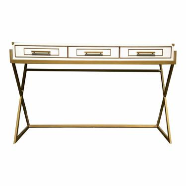 Currey & Co. Modern Regency White and Brass Console Table