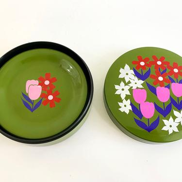 Vintage Green Floral Box Smoking Set or Coasters Set of Six (6) Ashtrays Ash Tray Coaster Red Pink 1960s Plastic Mid-Century Modern Lacquer by CheckEngineVintage