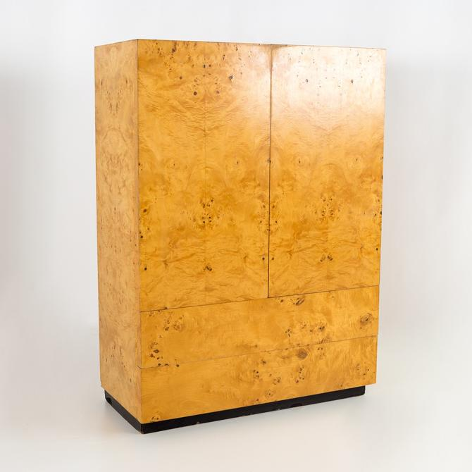 Dillingham Mid Century Burlwood Armoire Gentleman's Highboy Dresser Chest - mcm by ModernHill