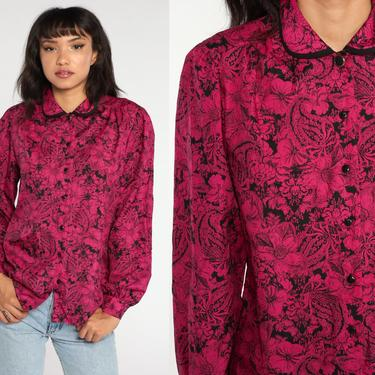 Paisley Floral Blouse Pink Top 80s Button Up Shirt 90s Blouse Peter pan collar Long Sleeve Top Boho 1980s Vintage Bohemian Medium by ShopExile