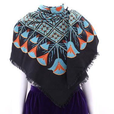 vintage British Museum huge wool print scarf shawl / vintage 1970s 80s Liberty London wrap 53 x 50 by ritualvintage
