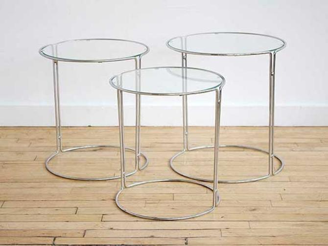 Set of Glass and Chrome Nesting Tables