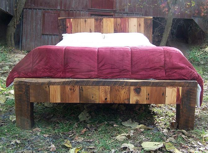 Colorful Reclaimed Wood Bed Frame by BarnWoodFurniture