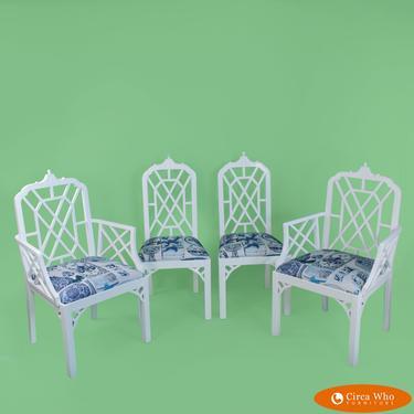 Set of 4 White Fretwork Pagoda Chairs