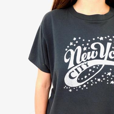 New York City Star Tee // vintage boho shirt t-shirt t dress 80s hippie hippy cotton soft thin black NYC // O/S by FenixVintage