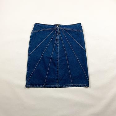 90s Stretch Denim Mini Skirt with Seam Details / Stripes / Size 12 / XL / Plus Size Vintage / Jean Skirt / y2k / Knee Length / 00s / by shoptrashdotnet