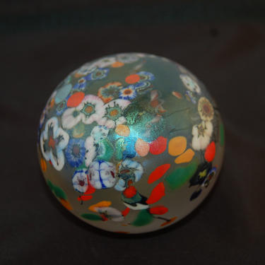 Beautiful HAT (Herbert A Thomas) Highly Iridescent Clear Art Glass Paperweight with Scattered Small Colorful Millefiori Flowers Signed by YesterdayAndTomorrow