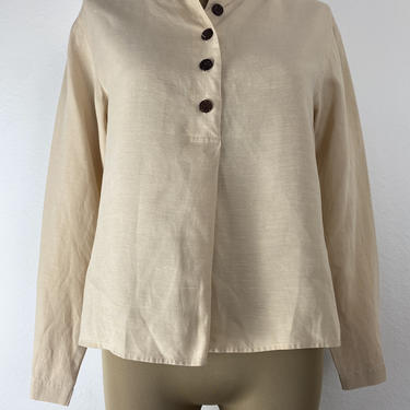 vintage linen blend tan henley blouse small by miragevintageseattle