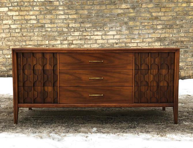 Walnut Dresser With Sculpted Detail