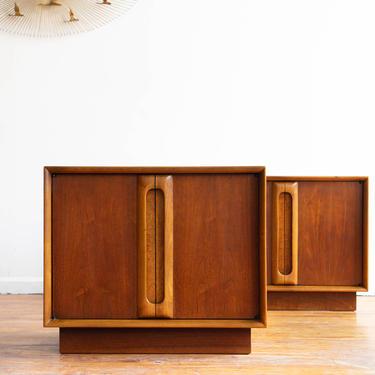 Vintage MCM Pair of Nightstands by Lane in Walnut and Burlwood - Pair of End Tables - Mid Century Nightstands with Storage by blinkmodern