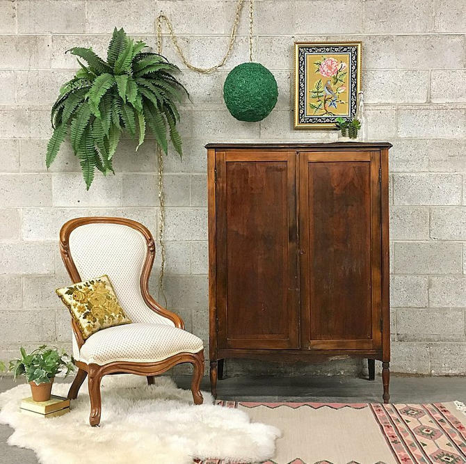 LOCAL PICKUP ONLY Vintage Clothing Cabinet Retro 1940s Brown Wood Cabinet Wardrobe for Clothing with Two Hang Bars + 7 Hooks + Spindle Legs by RetrospectVintage215