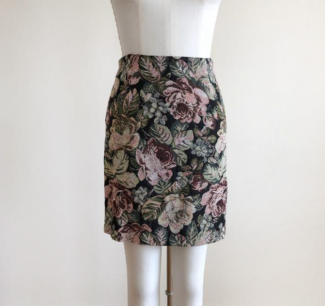Floral Tapestry Mini-Skirt -  Early 1990s by LogansClothing
