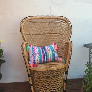 Woven rattan drum chair