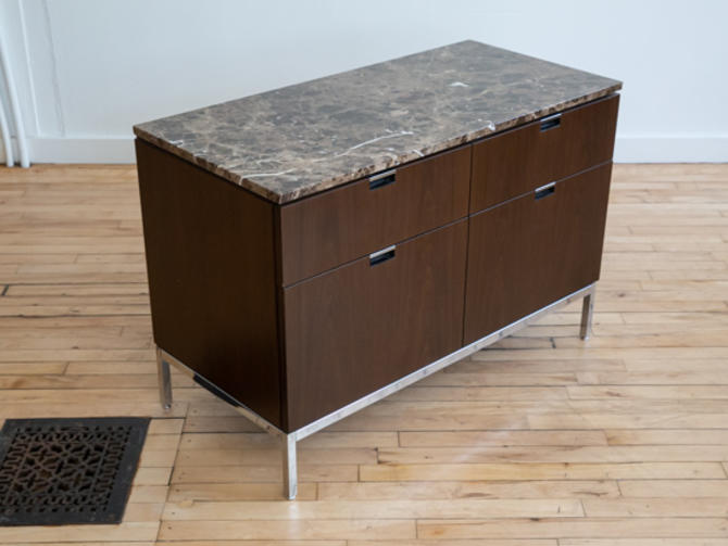 Knoll Walnut Marble Two-Position Cabinet