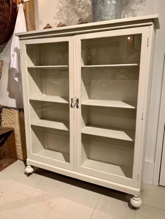 "Painted vintage glass cabinet, 46"" w x 12.25"" d x 55 3/8"", $375."