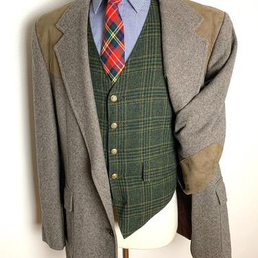 Vintage PENDLETON Wool Tweed Western Blazer ~ size 46 Long ~ Herringbone ~ jacket / sport coat ~ Elbow Patches ~ by SparrowsAndWolves